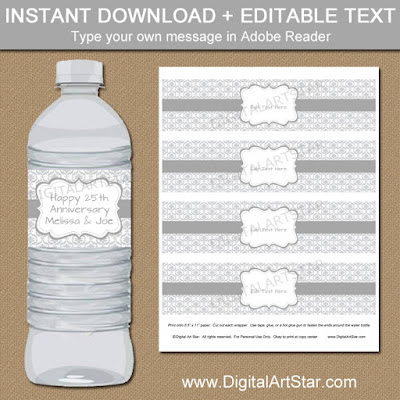 printable 25th anniversary water bottle labels