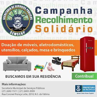 Cartaz com imagens de utensílios usados, ilustrando a Campanha e com informações sobre participar.