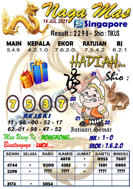 Syair Naga Mas SGP Rabu 14 Juli 2021