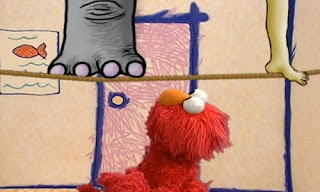 an elephant hops on the tightrope with its foot. Sesame Street Elmo's World Feet Elmo's Question.