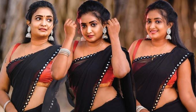 Model Fatima Mary Photos Stills In Black Saree Pics