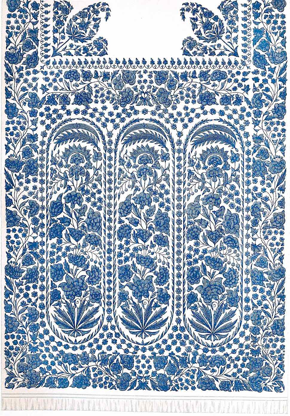 old embroidered white muslin from India, a blue illustration