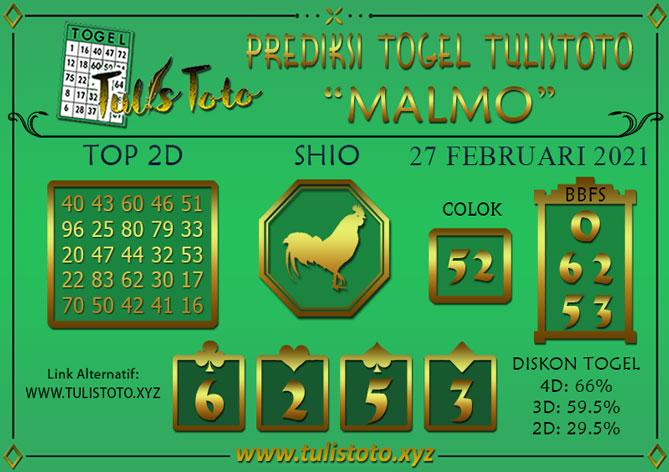 Prediksi Togel MALMO TULISTOTO 27 FEBRUARI 2021