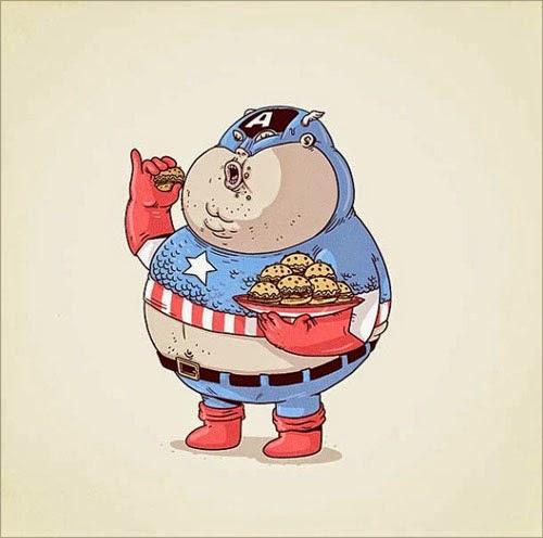 Fat Super Hero Gemuk - marvel Fat Captain America
