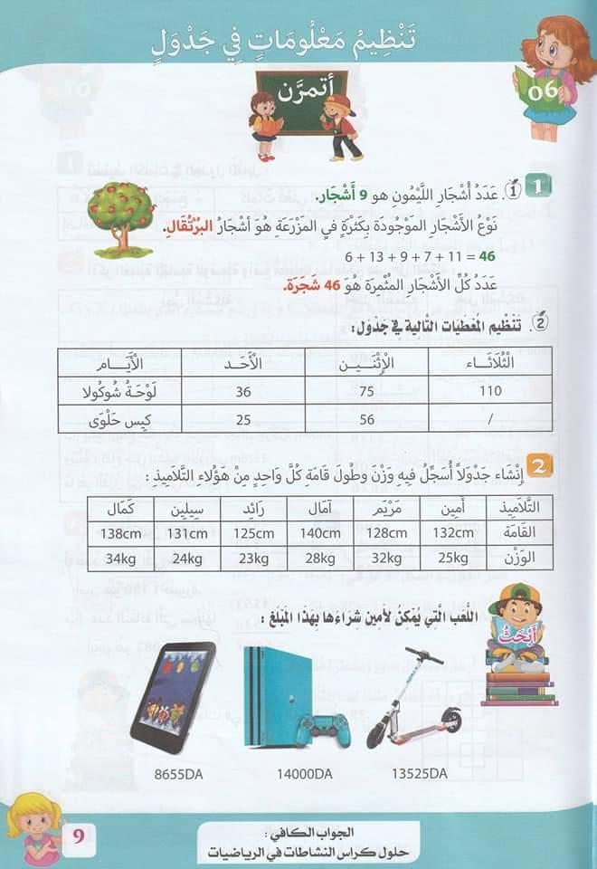 حلول تمارين كتاب أنشطة الرياضيات صفحة 13 للسنة الخامسة ابتدائي - الجيل الثاني