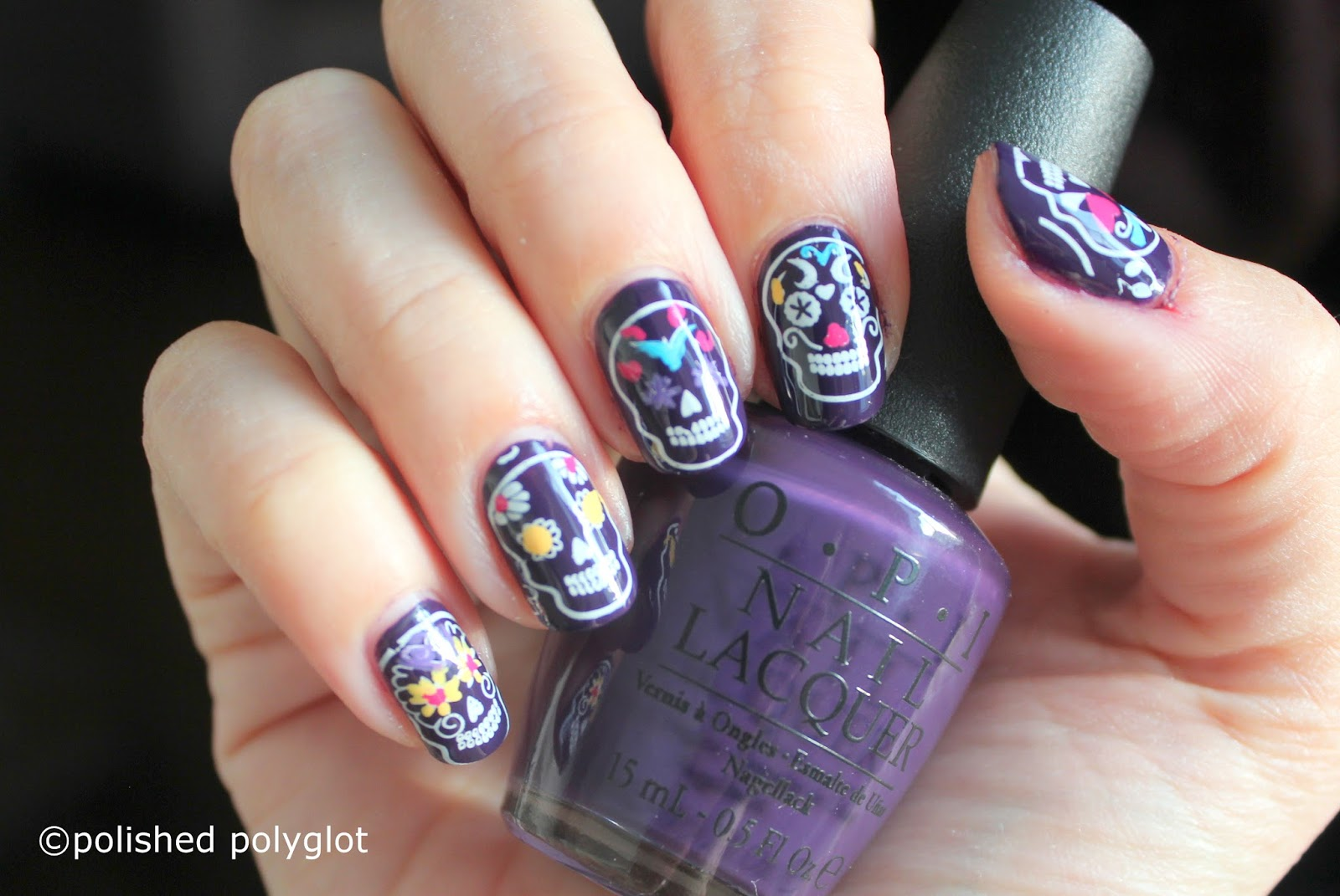 Nail art manicure with sugar skulls nail crazies unite i thought to do a really fun manicure but i didnt wanted to go all crazy with colors or the sugar skulls would be difficult to spot prinsesfo Image collections