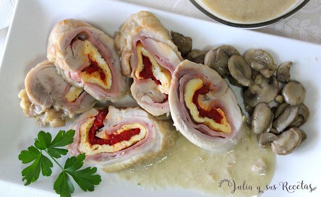 Rollos de pechugas en salsa de setas. Julia y sus recetas