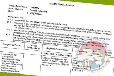 Silabus Bahasa Indonesia SMP Kelas 8 Kurikulum 2013 Revisi