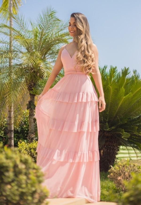 vestido longo rose para madrinhas de casamento