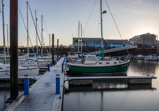 Photo of frosty pontoons at Maryport Marina on Wednesday morning