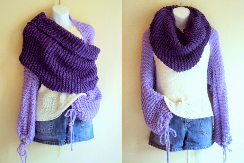Grahams Bazaar: Wrap Around Knit Shrug Tube Scarf Cowl Set