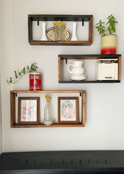 How to decorate reclaimed wood display shelves.