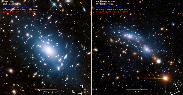 "Two massive galaxy clusters — Abell S1063 (left) and MACS J0416.1-2403 (right) — display a soft blue haze, called intracluster light, embedded among innumerable galaxies. The intracluster light is produced by orphan stars that no longer belong to any single galaxy, having been thrown loose during a violent galaxy interaction, and now drift freely throughout the cluster of galaxies. Astronomers have found that intracluster light closely matches with a map of mass distribution in the cluster's overall gravitational field. This makes the blue ""ghost light"" a good indicator of how invisible dark matter is distributed in the cluster. Dark matter is a key missing link in our understanding of the structure and evolution of the universe. Abell S1063 and MACS J0416.1-2403 were the strongest examples of intracluster light providing a much better match to the cluster's mass map than X-ray light, which has been used in the past to trace dark matter. Credit: NASA, ESA, and M. Montes (University of New South Wales)"
