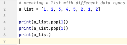 Retrieve & Delete the value from a list using pop() in Python