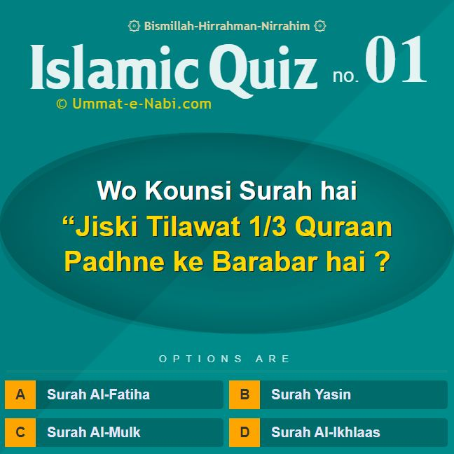 """Islamic Quiz 1 Ummat-e-Nabi.com : Wo Kounsi Surah hai """"Jiski Tilawat 1/3 Quraan Padhne ke Barabar hai?"""