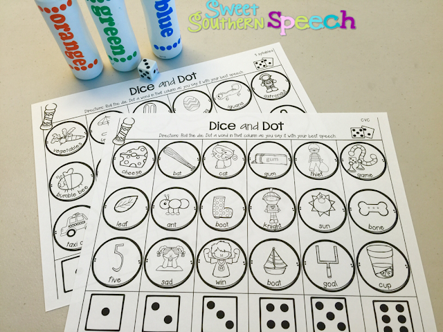 Download this Apraxia freebie for speech therapy activities! My kids love dice games