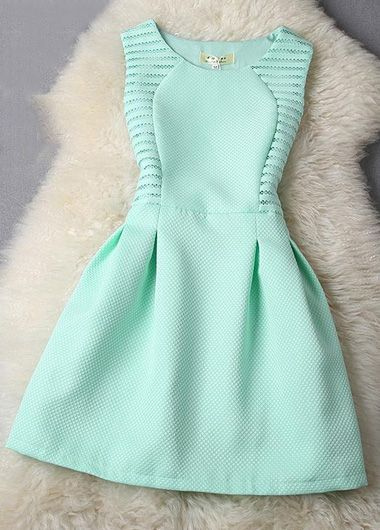 Mint Color Hallow Out Pretty Home Coming Dress
