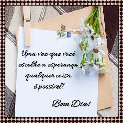Uma vez que você escolhe a esperança  qualquer coisa é possível!  Bom Dia!