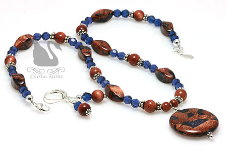 Autumn's Shimmering Sapphire Goldstone Beaded Necklace Set