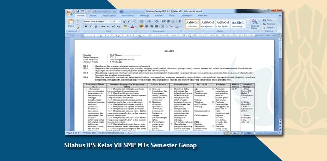 Silabus IPS Kelas VII SMP MTs Semester Genap