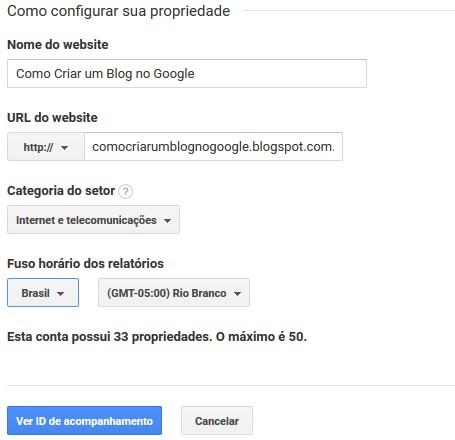 Configurar Propriedade do site no Google Analytics