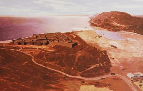 Recreación de como debió ser Lucentum en la época romana y su extraordinaria situación en el Tossal de Manises.