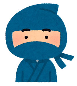 いろいろな表情の忍者のイラスト(男性・笑顔)