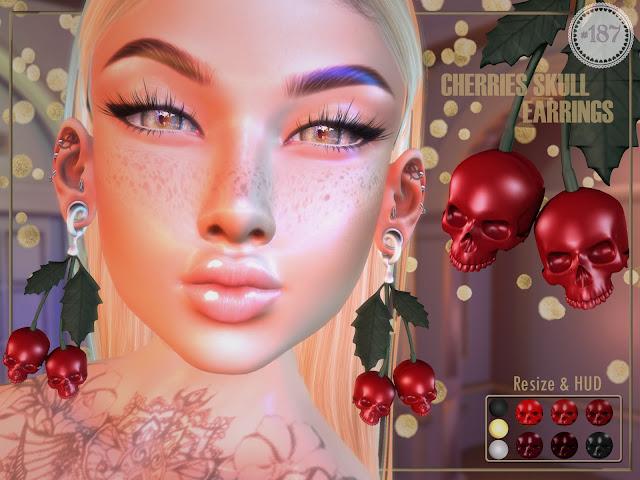Cherries Skull Earrings @ UNIK