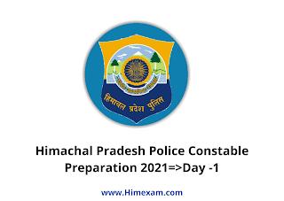Himachal Pradesh Police Constable Preparation 2021=>Day -1