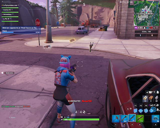 Eliminate opponents at Tilted Towers or The Block