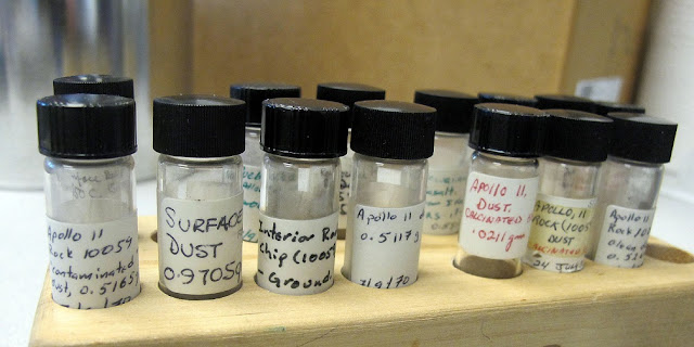 Moon dust and rock samples photographed at Berkeley Lab. (Credit: Berkeley Lab)