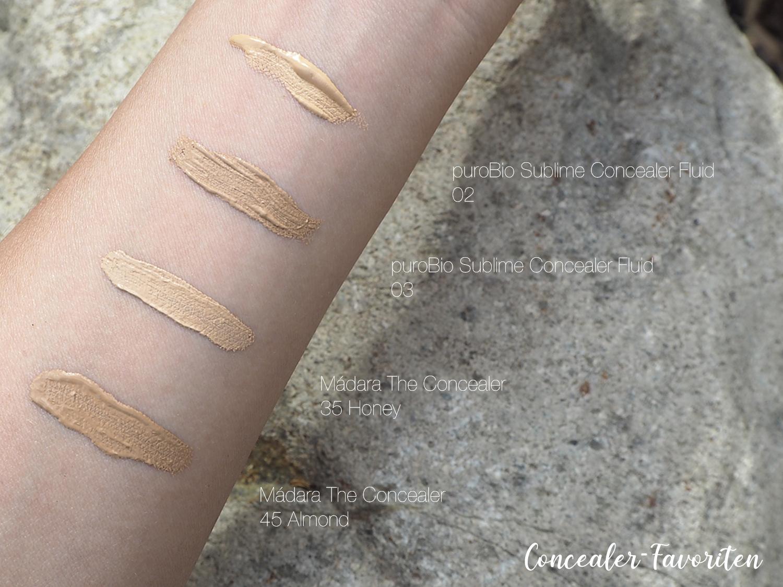 Concealer-Swatches puroBio 02, 03 und Mádara 35 Honey, 45 Almond