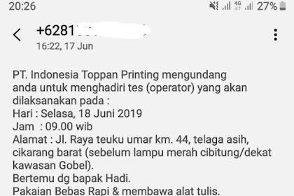 Lowongan Kerja PT Indonesia Toppan Printing