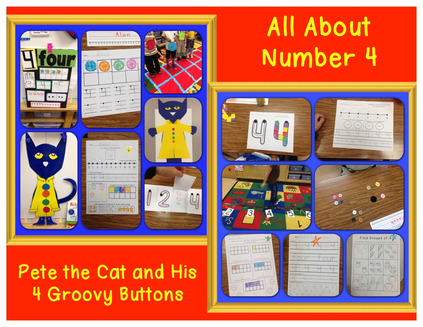All About Number 4 with Pete the Cat & FREEBIES