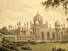 Detail from Designs for the Pavilion at Brighton - West Front  of the Pavilion towards the Garden by Humphry Repton (1806)