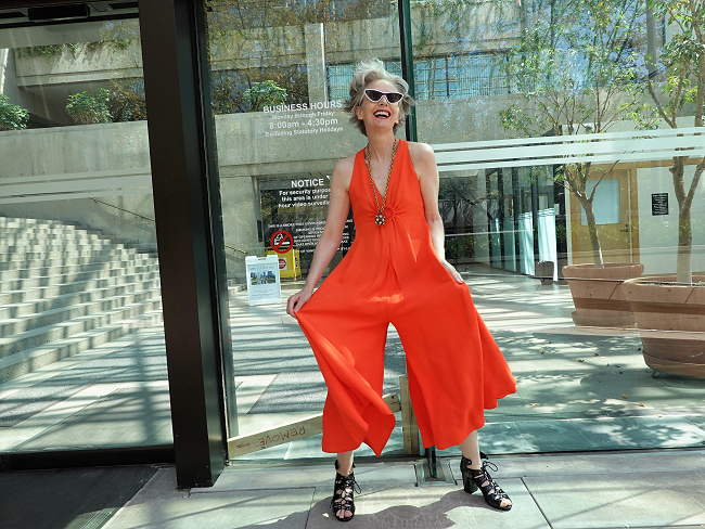 Mel Kobayashi of Bag and a Beret in vintage orange jumpsuit, 2019