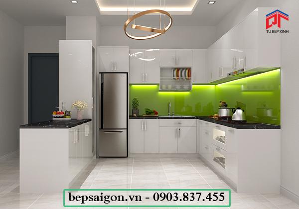 tủ bếp hiện đại, tủ bếp xinh, tủ bếp acrylic