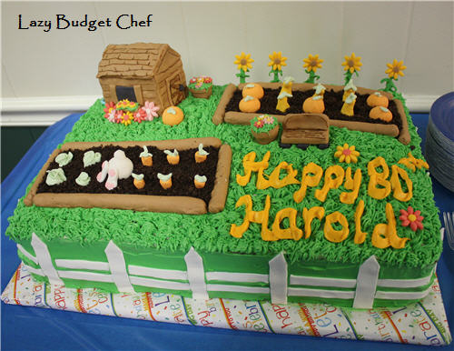 Lazy Budget Chef: Vegtable Garden Birthday Cake