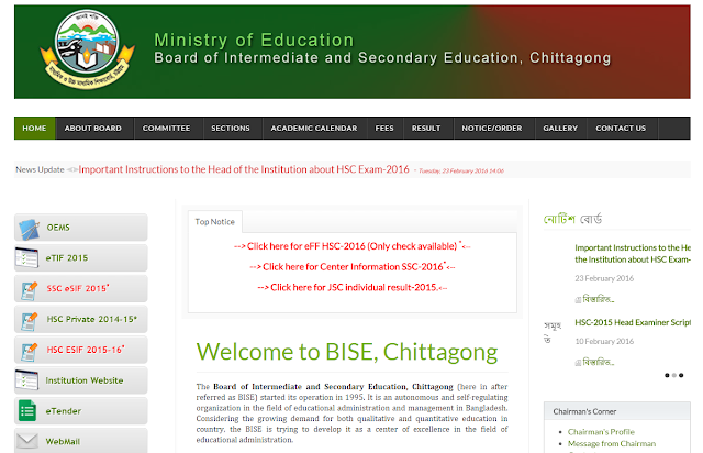 SSCC Result 2016 Chittagong board