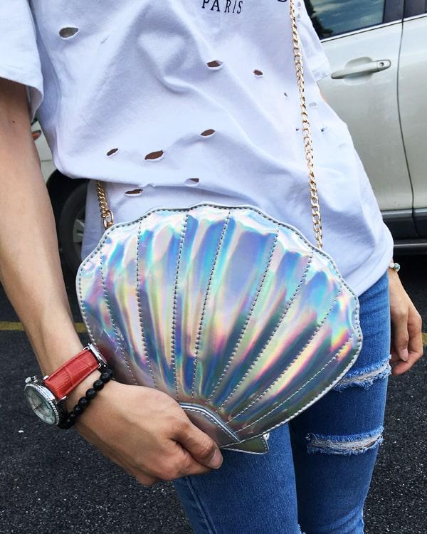 Women's Shimmer Shell Shoulder Bag