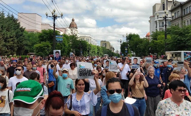 Практически все население Хабаровска выступило против подобного беспредела, собравшись на несанкционированный митинг