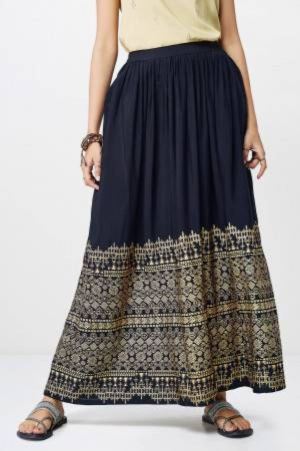 Black Geometric Foil Print Skirt