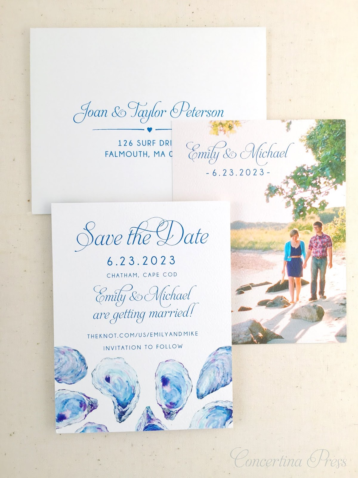 Oyster Watercolor Save the Dates with photo and address from Concertina Press