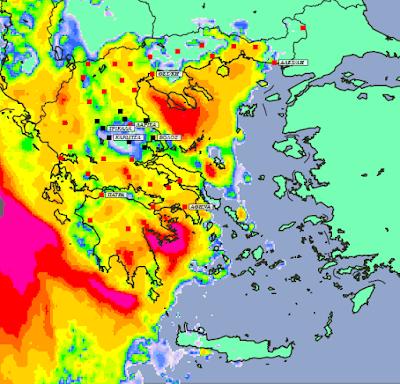 3 - Μπόρες και καταιγίδες σε μεγάλο μέρος της χώρας και της Θεσσαλίας (+XAΡΤΕΣ ΥΕΤΟΥ)