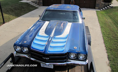 1970 Chevy Chevelle barn find rescued in Alabama with funky white stripes over the Astro Blue paint.