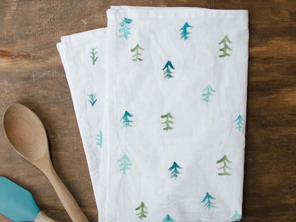 DIY Painted Tree Flour Sack Tea Towels