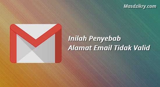 Penyebab alamat email tidak valid