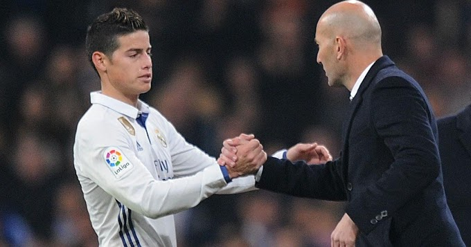 'He's amazing but I didn't play much under him': James speaks of his relationship with Zidane at Madrid
