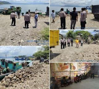 Polres Toba Amankan 3 Unit Kapal Motor Pengangkut Batu Ilegal