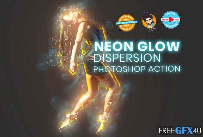 Neon Glow Dispersion Photoshop Action